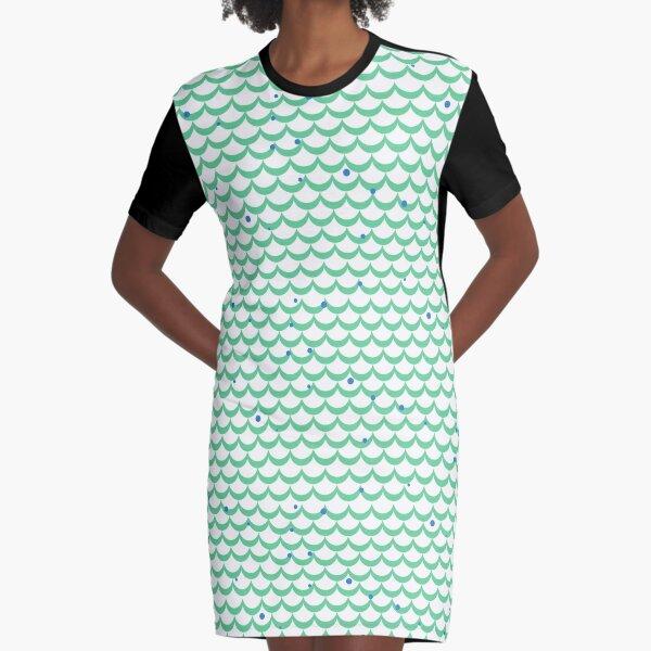 Super Cute Mermaid Pattern Graphic T-Shirt Dress