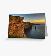 Scenic Irish Sunset Nature Landscape Rural Countryside Photography. The Cliffs of Moher Mohair Seascape, County Clare, Ireland Irlanda. Greeting Card