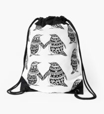 Penguin Couple Drawstring Bag