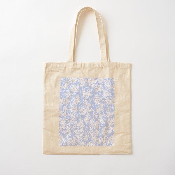 Spring dreams - Pastel Blue leaves Pattern Cotton Tote Bag