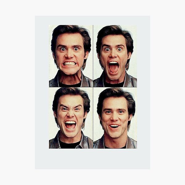 Jim Carrey faces in color Photographic Print
