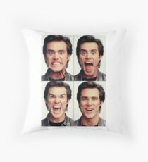 Jim Carrey faces in color Throw Pillow