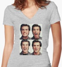 Jim Carrey faces in color Women's Fitted V-Neck T-Shirt