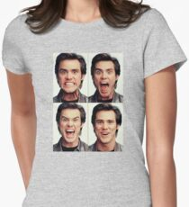 Jim Carrey faces in color Women's Fitted T-Shirt