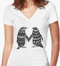 Penguin Couple Women's Fitted V-Neck T-Shirt