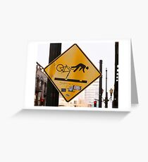 Falling Cyclist Greeting Card