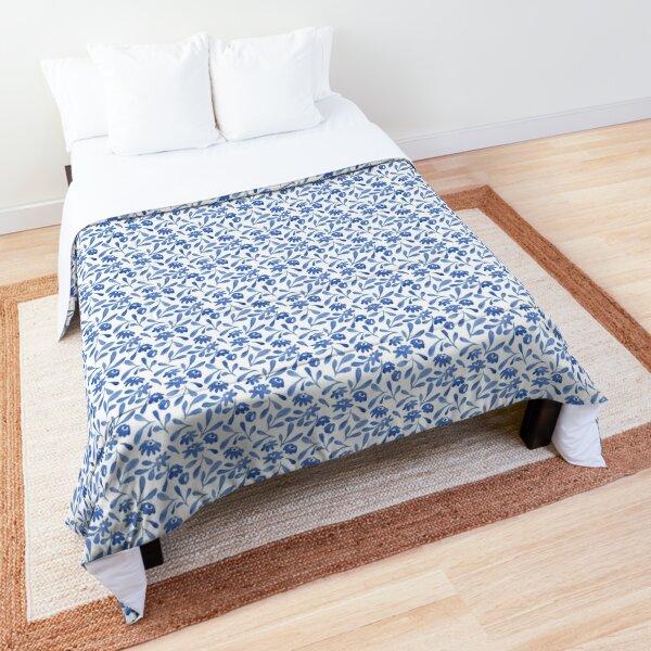 Blue watercolor flowers Comforter