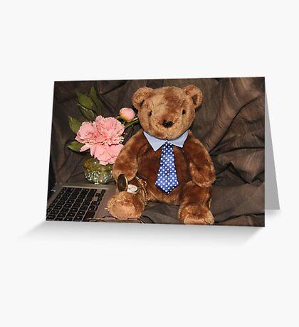Working Teddy Bear Greeting Card