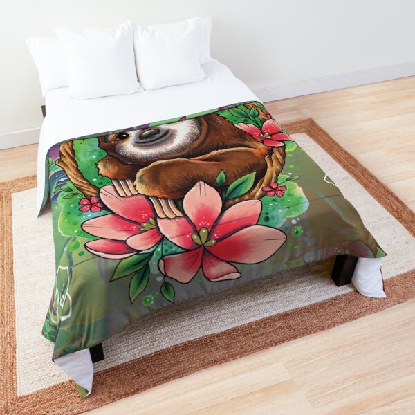 Cute Sloth and Flowers Comforter
