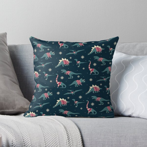 Dinos In Sweaters Throw Pillow