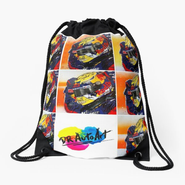 Max Verstappen F1 graffiti painting collage by DRAutoArt Drawstring Bag