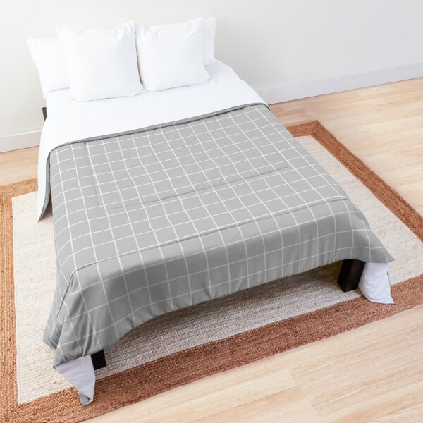 Aesthetic White and Gray grid paper imitation HD High Quality Online Store Comforter