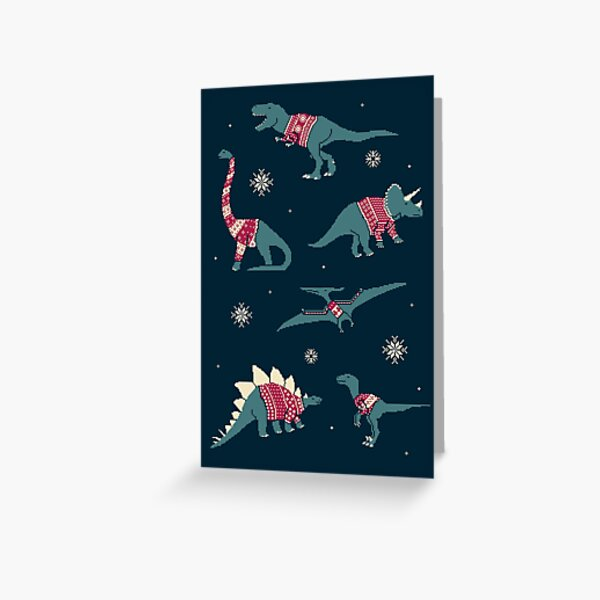 Dinos In Sweaters Greeting Card