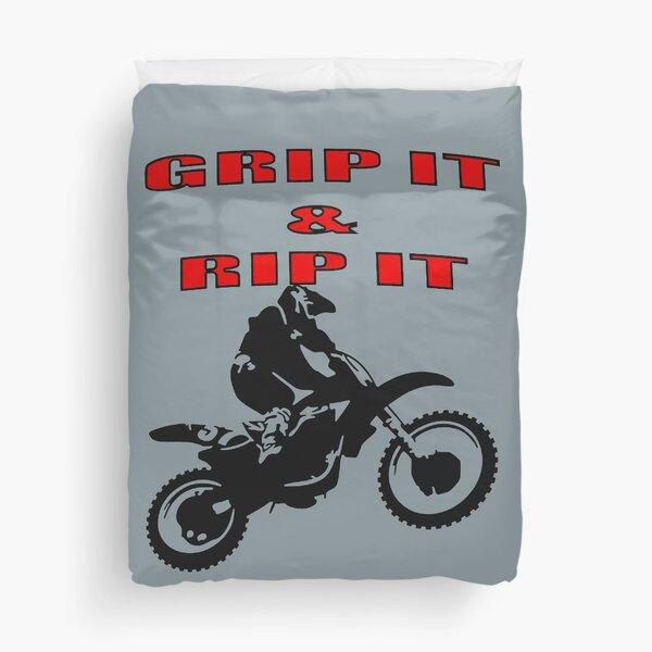 Grip It and Rip It Dirt Bike Racer Duvet Cover