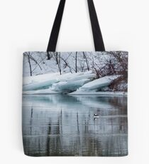 Bufflehead Duck and Ice Formation, Niagara River, Ontario Tote Bag