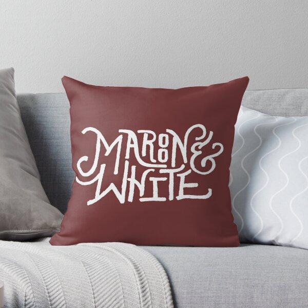 Maroon & White - White Script Throw Pillow