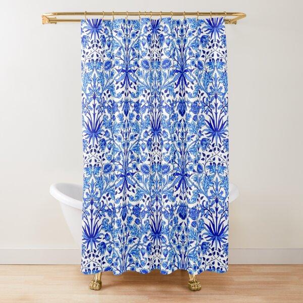 William Morris Hyacinth Print, Cobalt Blue & White Shower Curtain