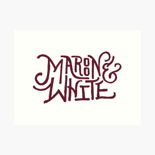 Maroon & White - Maroon Script Art Print