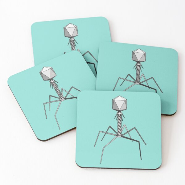 T4 bacteriophage virus Coasters (Set of 4)