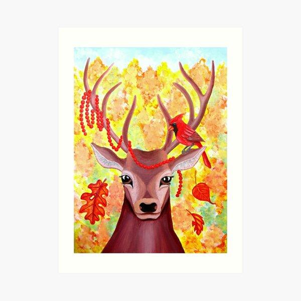 Deer and Cardinal at Fall Art Print