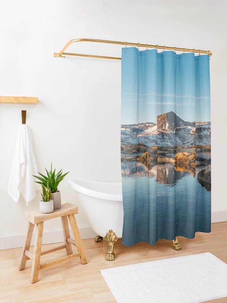 Alternate view of Winter landscape in Iceland II Shower Curtain