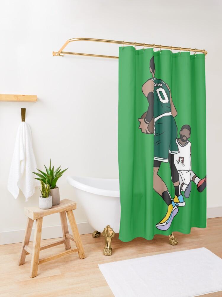 Alternate view of Jayson Tatum Crosses Over Paul George Shower Curtain