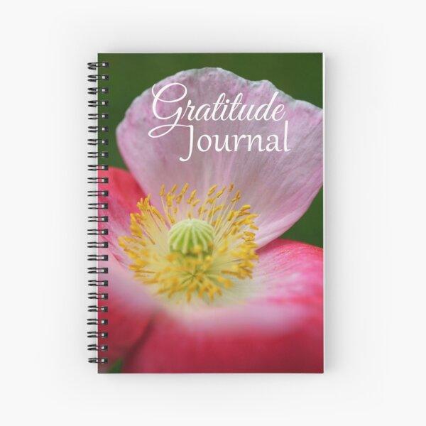 Gratitude Journal - Pink and white poppy flower Spiral Notebook