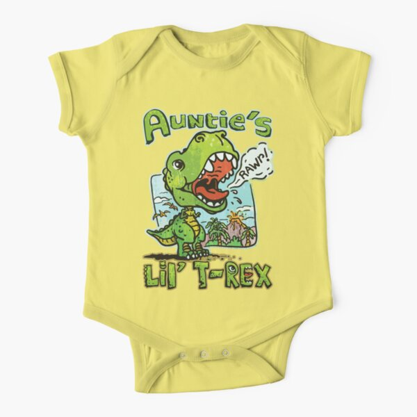 Auntie's Little T-Rex Dinosaur Short Sleeve Baby One-Piece