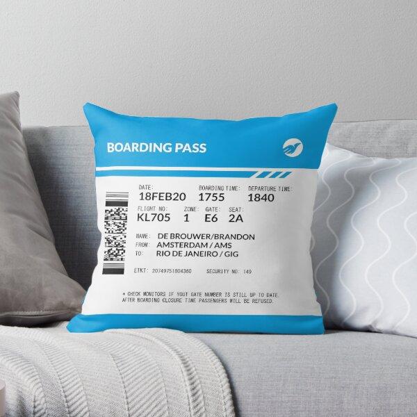 Boarding Pass Pillow BDB Throw Pillow
