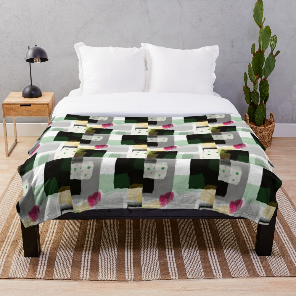 Abstract Geometric by Jami Amerine in Greens, Black, Yellow, and a Splash of Pink Throw Blanket