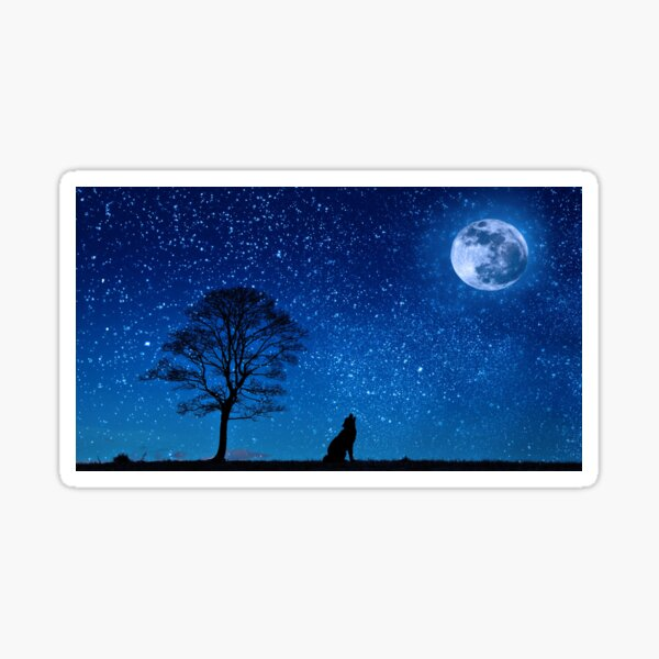 Wolf Howling at the Moon, Wolf Moon Night Sky Stars Sticker