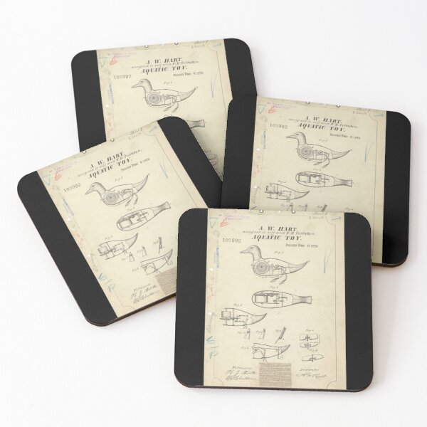 Vintage Duck Toy Patent Drawing Coasters (Set of 4)