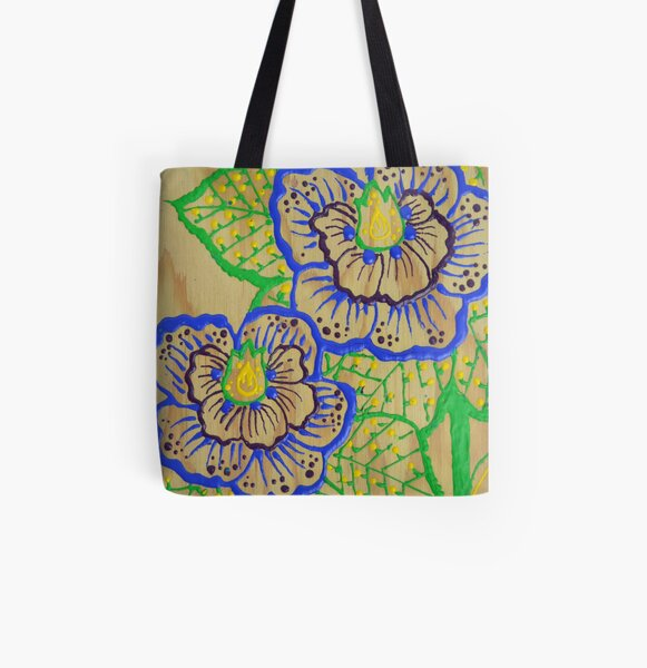 Blue Flowers in Henna Style All Over Print Tote Bag