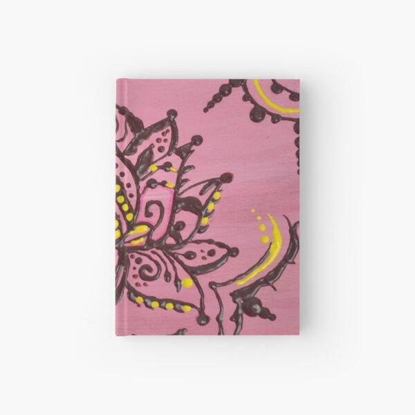 Pink Lotus in Henna Style Hardcover Journal