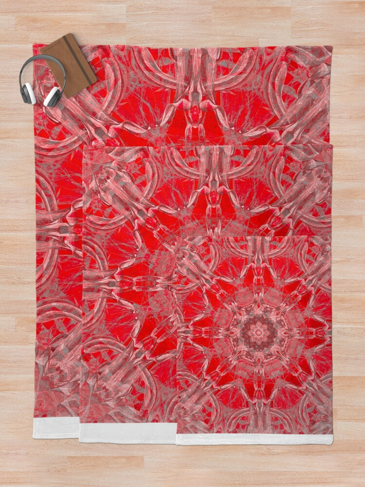 Alternate view of Graceful Red Memories In An Atique Pattern Throw Blanket