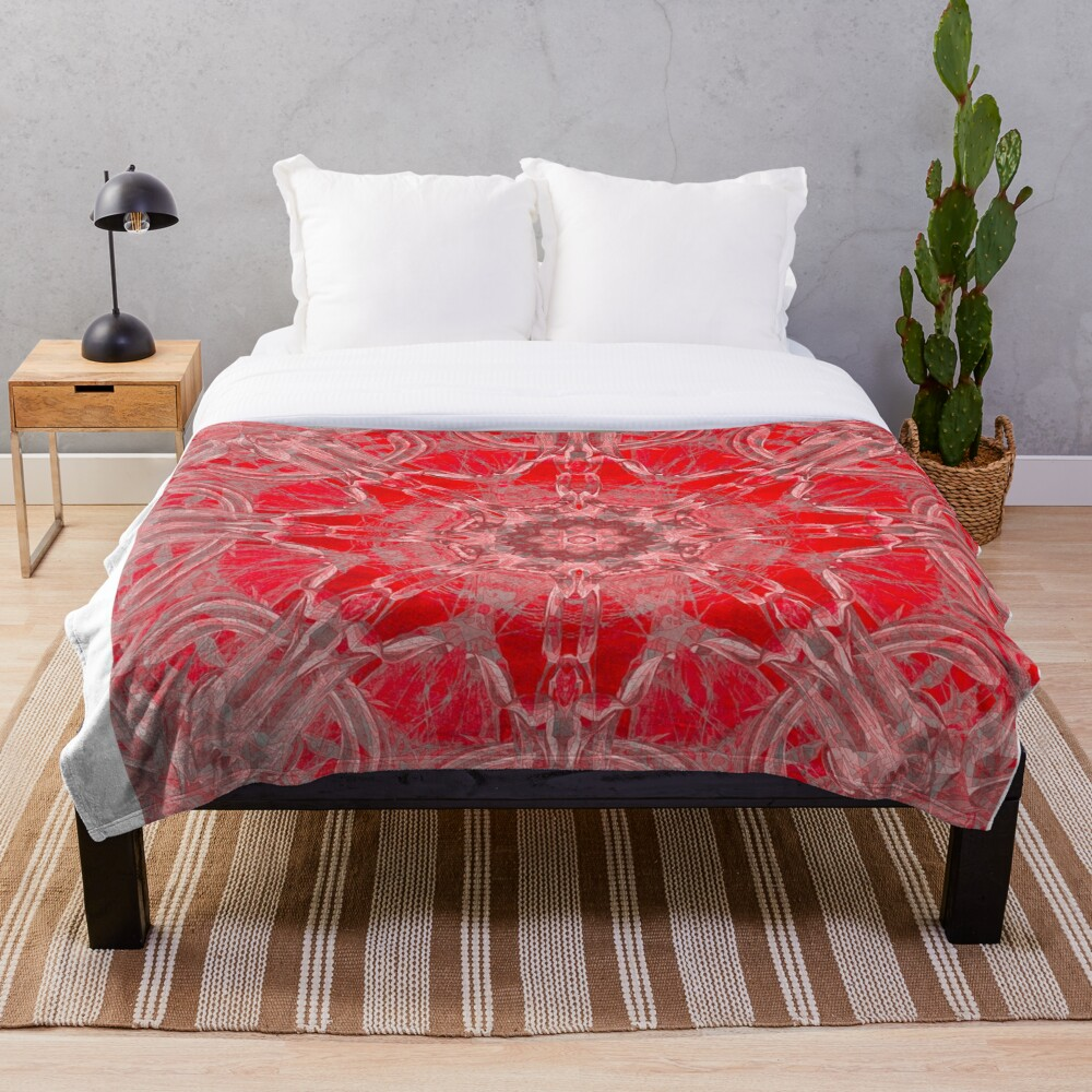 Graceful Red Memories In An Atique Pattern Throw Blanket