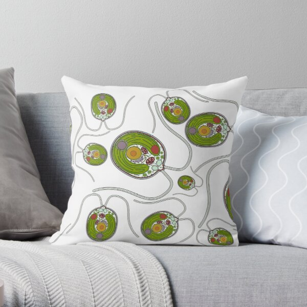Chlamydomonas Print Throw Pillow