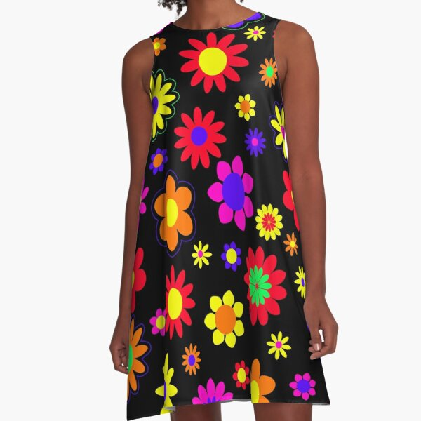Retro Hippie Flower Power Pattern A-Line Dress