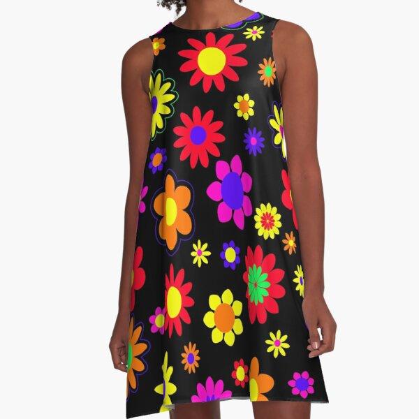 Retro Hippie Flower Power Pattern A-Line Dress