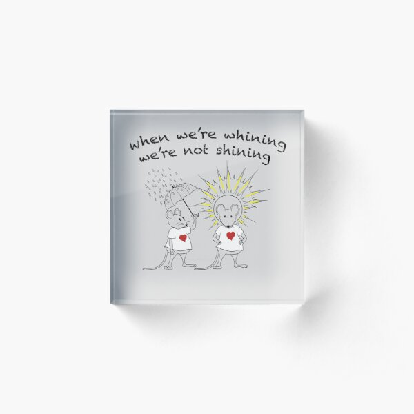 MantraMouse® Shining Cartoon in Color on Gray BackGround Acrylic Block
