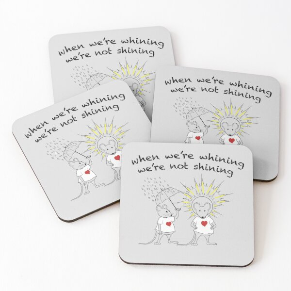 MantraMouse® Shining Cartoon in Color on Gray BackGround Coasters (Set of 4)