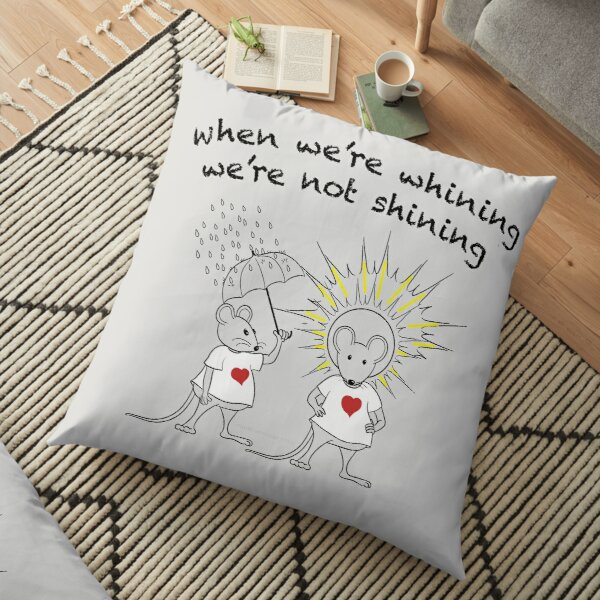 MantraMouse® Shining Cartoon in Color on Gray BackGround Floor Pillow
