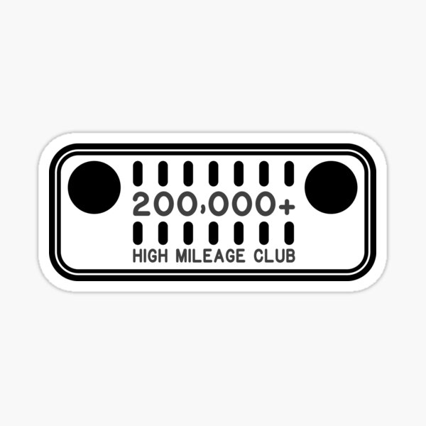 Jeep High Mileage Club - 200,000+ Miles Sticker