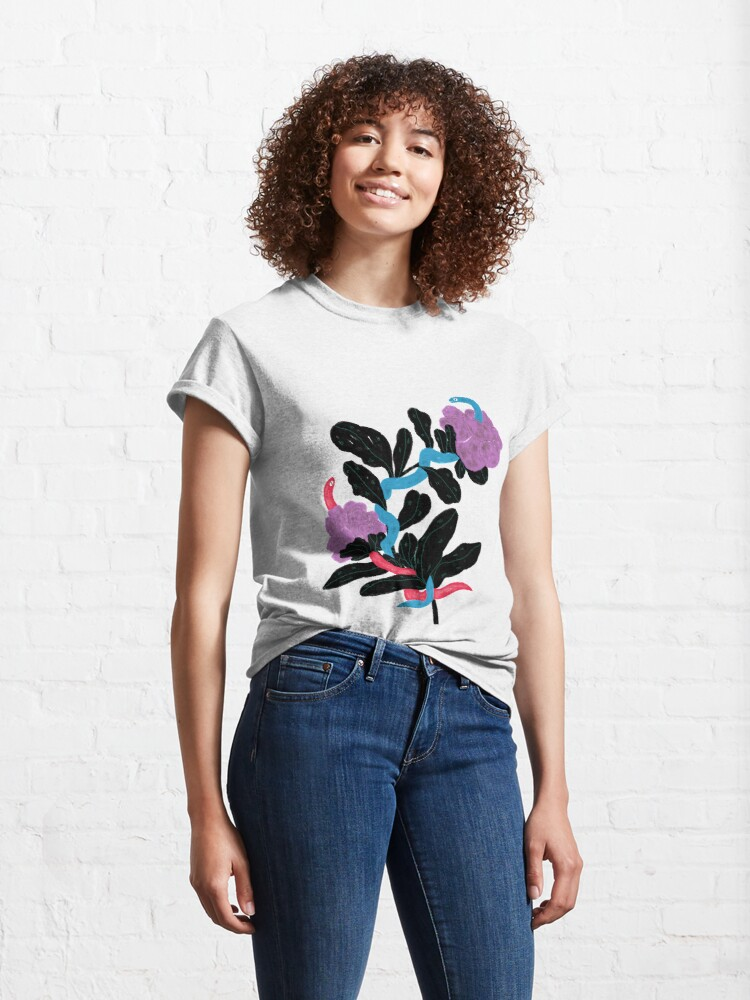 Alternate view of Snakes and flowers Classic T-Shirt