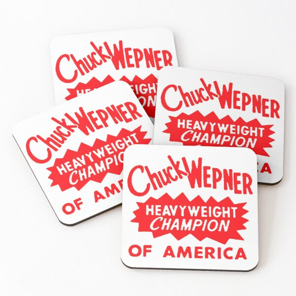 Chuck Wepner Cool Typography, Red Coasters (Set of 4)