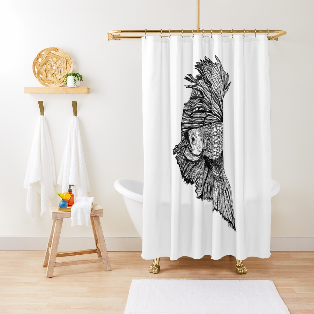 Gloria the Fighting Fish Shower Curtain