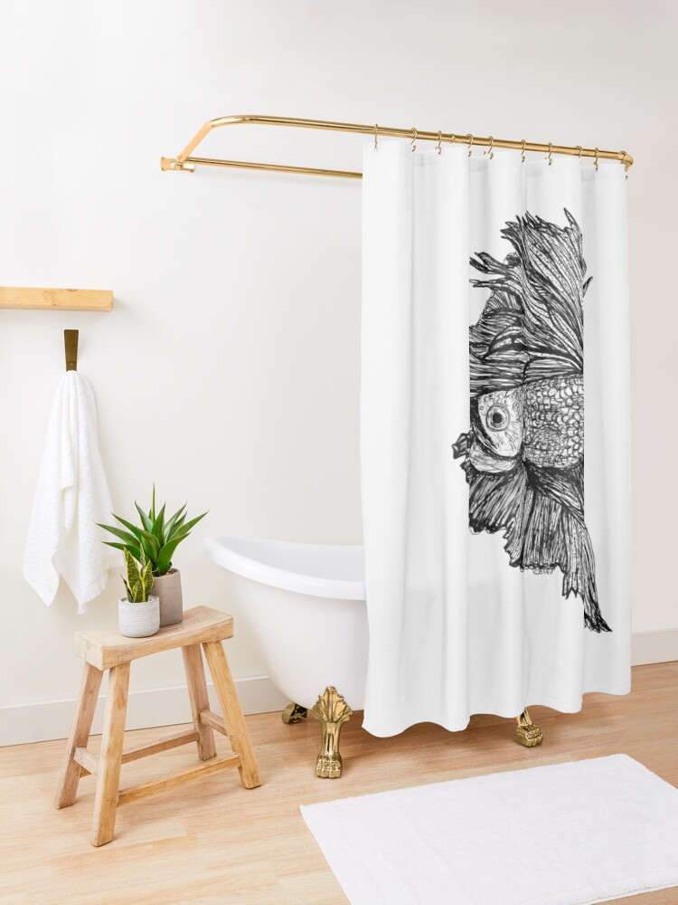Alternate view of Gloria the Fighting Fish Shower Curtain