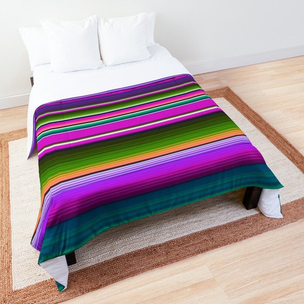 Mexican Blanket Striped Fiesta Serape Pink Comforter