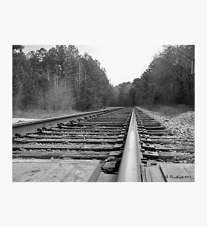Waiting On The Train - Looking Down The Line Photographic Print