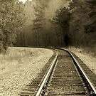 Just Around The Bend - Train Track In Sepia by Betty Northcutt